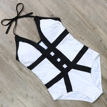 2017 New Patchwork Sets Padded Strap Sexy High Cut Bandeau Backless Swimwear Women One Piece Swimsuits BK130