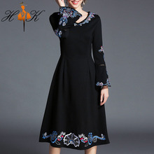 HTK elegant embroidered long black dress long sleeve women formal party dresses