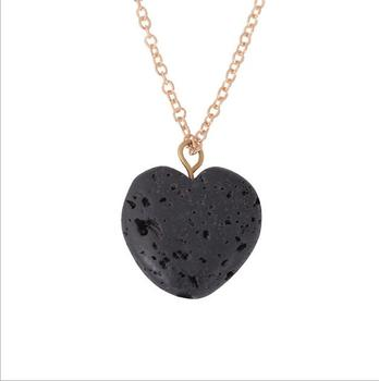 natural stone necklace lava stone necklace wholesale heart pendant necklace jewelry