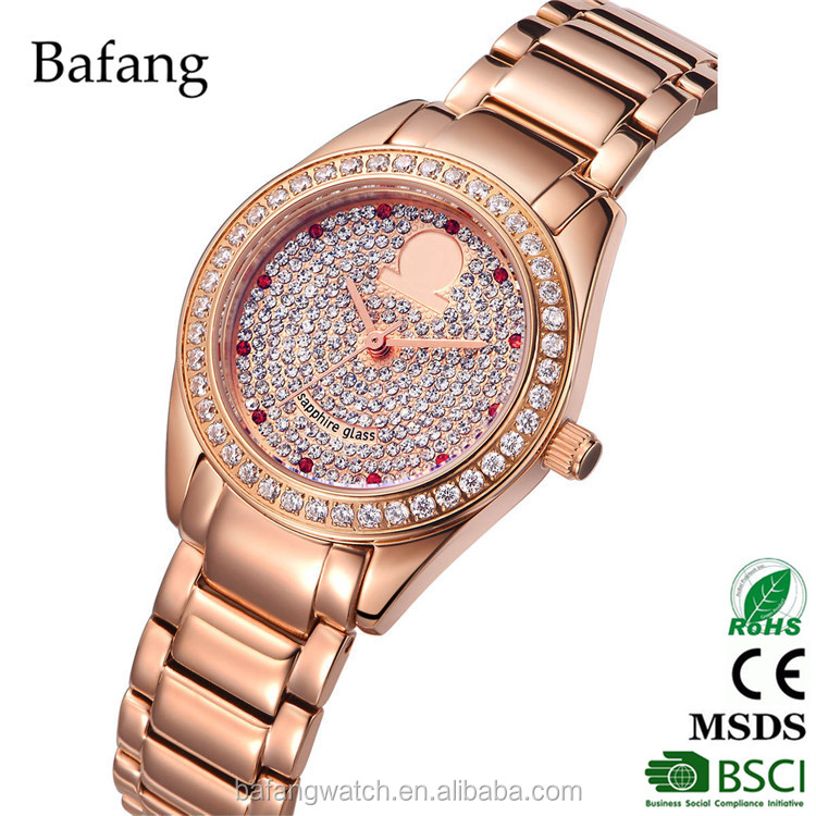 All stainless steel rose gold japan movt watch 2035 quartz hand watch for women