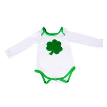 2017 Wholesale Baby Clothes Romper Children ST Patrick's Day Clover Romper