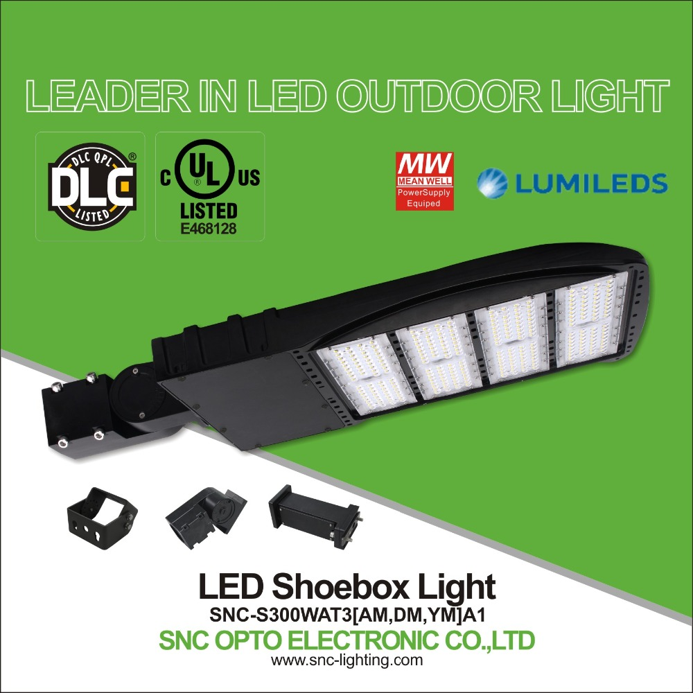 High Lumen led parking lot light,300w led street light Shoebox style with UL DLC