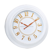 18INCH White brush Gold Frame Antique Wall Clock