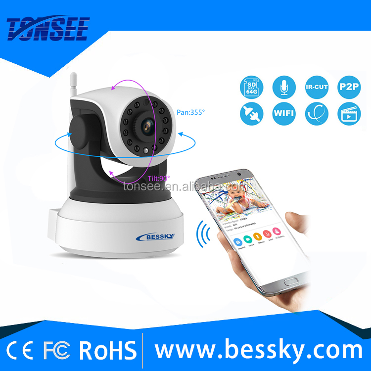 cmos h.264 hd 1.0mp Two-way audio pan tilt wifi wireless alarm p2p ip baby care720p ip smart home camera support tf card