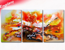 Stretched decoration triptych modern oil painting