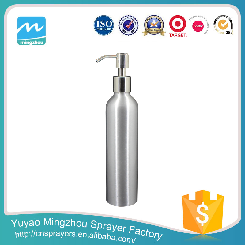 MZ Factory Manufacturer Supplier Professional Silver Glass Bottle With Pump Dispenser