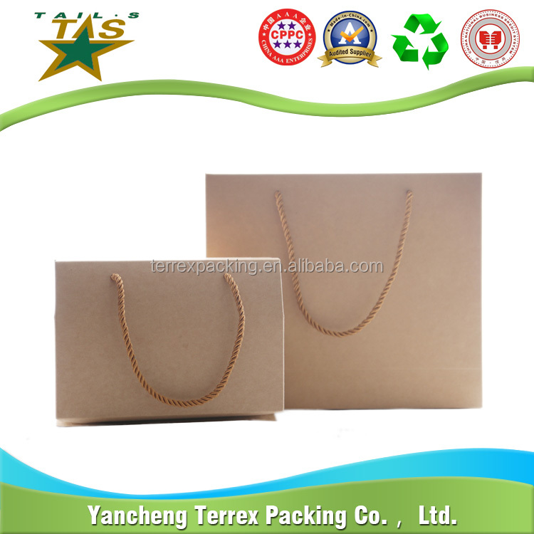 Recycle eco friendly Brown flat bottom shopping kraft paper bag With Paper Handle