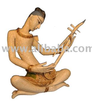 Wooden Thai Musician Decoration Furniture Wood Carving Thailand High Quality Handmade Antique Woodcraft