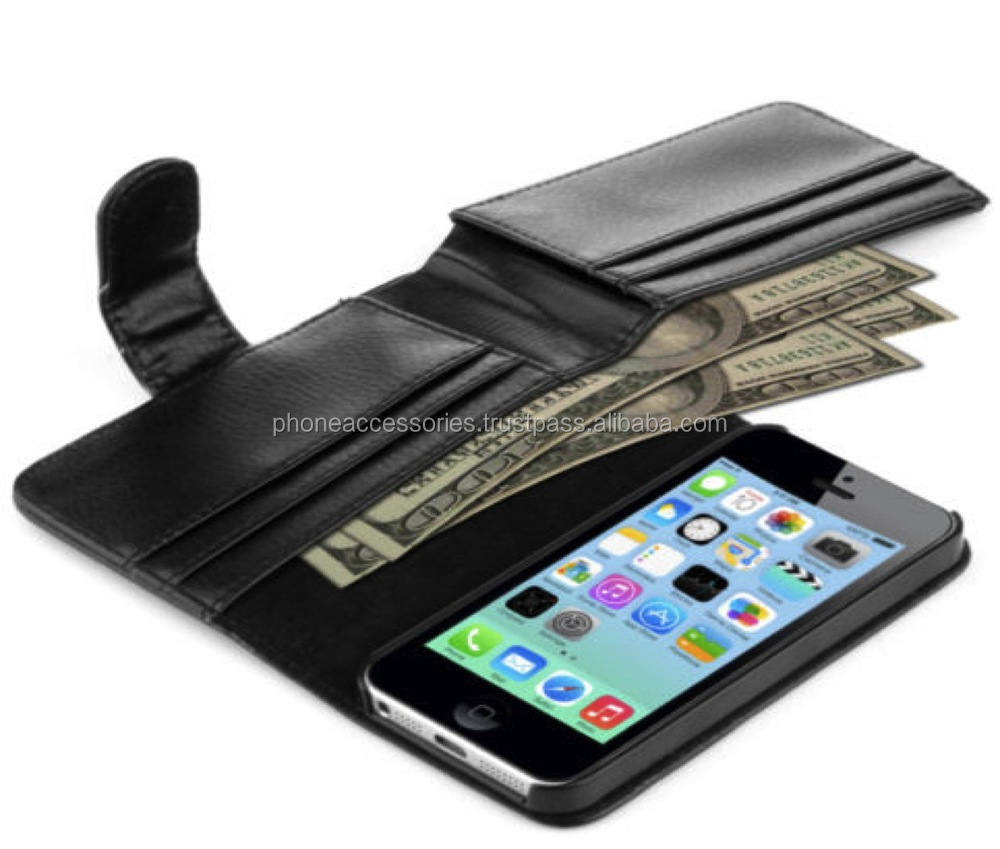 Genuine PU Leather Flip Cover Case With Full Wallet for iPhone 6, iPhone 5 and iPhone 4 and for Samsung S5