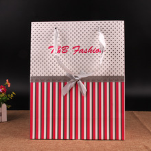 Customized Paper Shopping Bags with ribbon handles wholesale