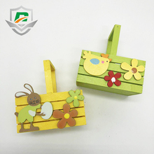 china wholesale cheap personalized party supplies Easter wooden basket toys colorful rabbit flower decoration for kids