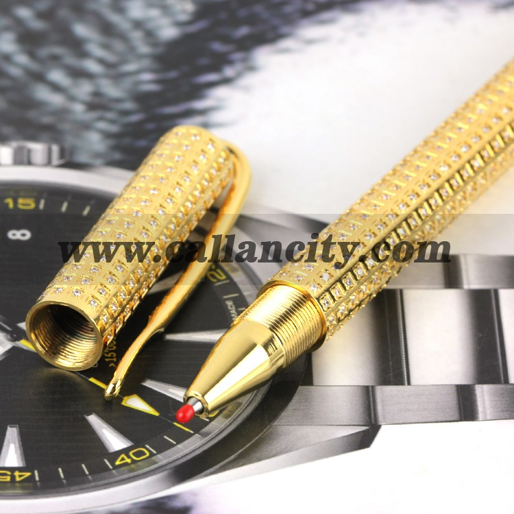 luxury 24kt gold and diamonds Handcrafted micropave gel pens