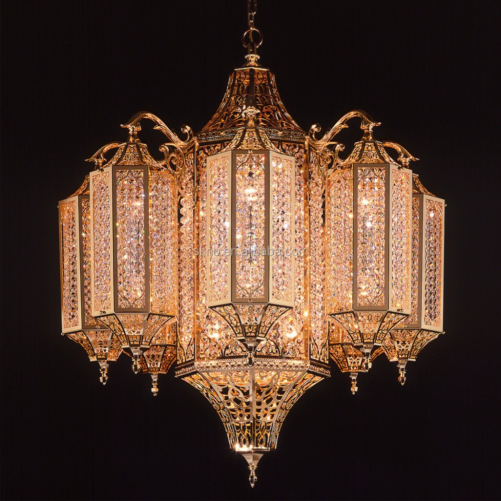 Moroccan K9 clear crystal chandelier, antique gold mosque cage chandelier