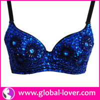 Top selling womans royal blue sequined beautiful bra sexy bra design