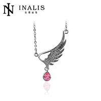 2014 fashion single rhinestone angel wing necklace