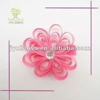 Shocking pink grosgrain bow hair clips