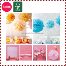 flower paper pompom as flower stage decoration for wedding