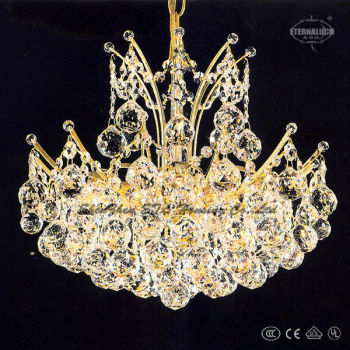 beauty European gold color 9 light crown shape rectangular crystal chandelier ETL80003A