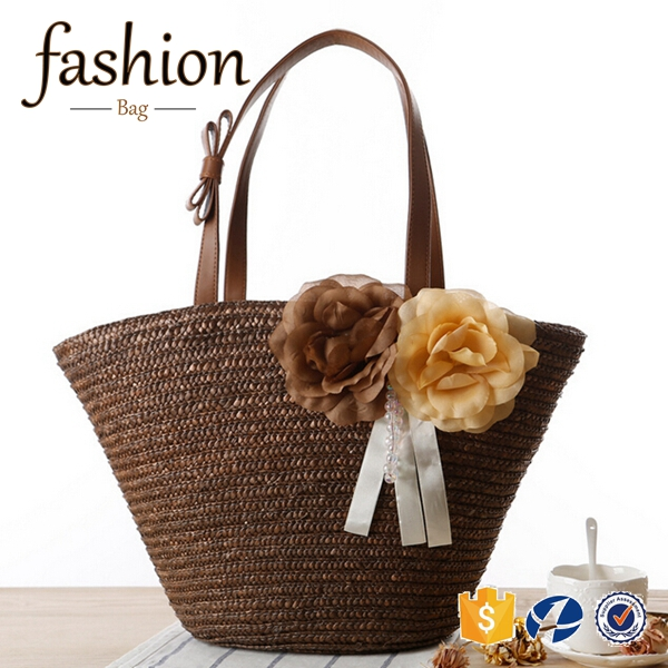CR fully stocked 2016 new stylish summer straw bags flower tote cheap weave shoulder Bag coffee color beach bag supplier