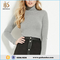 Shandao Sexy Tight Fit High Neck Long Sleeve Gray Turtleneck Wholesale 210G 35%Cotton 62%Polyester 3%Spandex T Shirt For Women