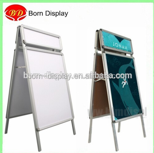 Hot Sales Aluminum Material Sliver Double Sign A0 A1 Heard Board Poster Board with 32MM Snap-in Frame