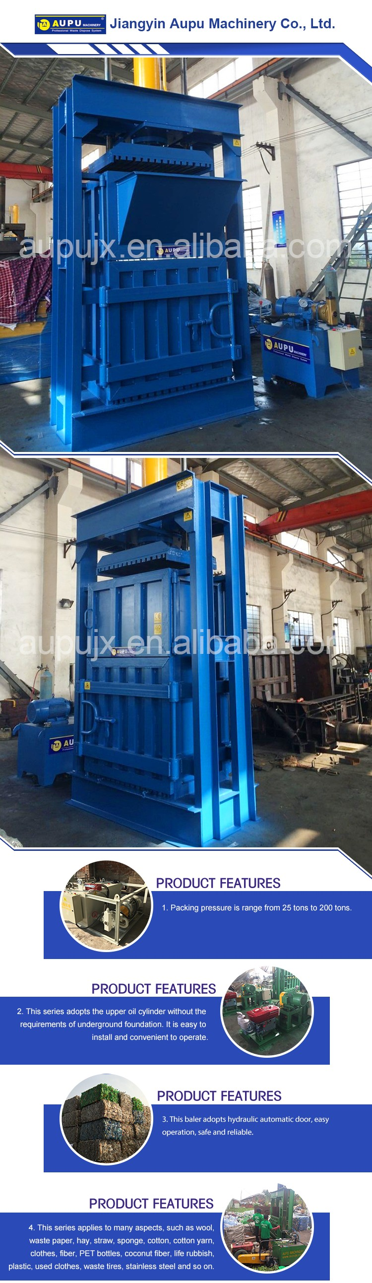 Cheap small trash compactor straw baling press sponge baler