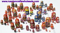 Matrioshka Wooden Russian Dolls with Ethnic Ornament, Hand Painted Wood Souvenir, Folk Art and Crafts Wholesale