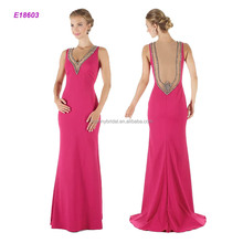 Style# E18603 Fashion High-end Atmosphere Grade Sleeveless V Neckline Mother of the Bride Dress with Elegant Back