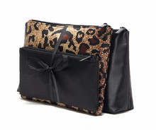 Exquisite three-piece leopard ribbon cosmetic bag