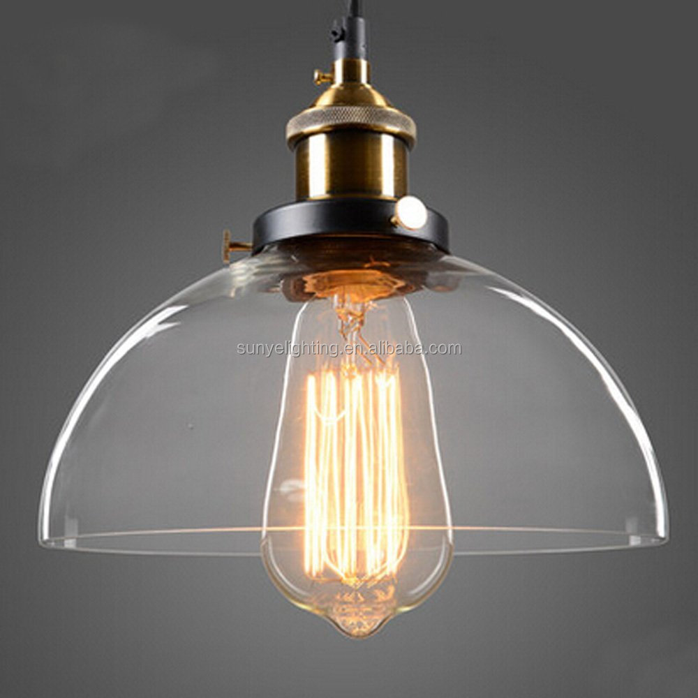 Half-Globe Vintage Industrial Ceiling Lamp,Clear Glass pendant lighting for kitchen island Loft Shade Fixture