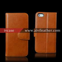 Premium Genuine Leather Case for Wallet Iphone 5 SE with Magnetic Strap