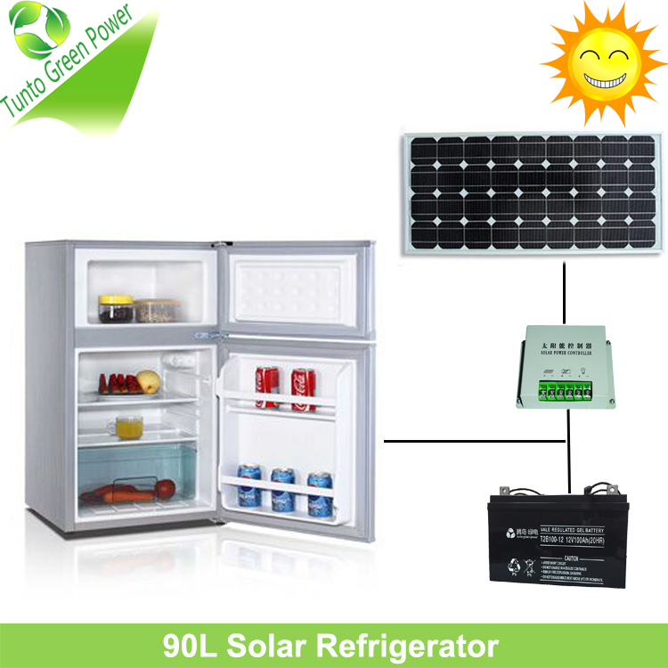 Hot Sale!12V 90L Double Doors Solar Refrigerator with High Quality and Low Power Consumption