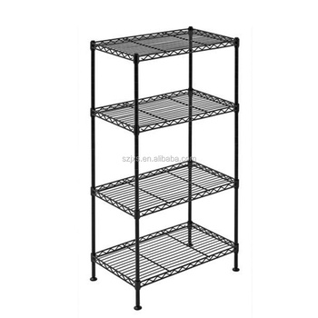 Black Powder Coated wire shelving pallet racking Black metal shelving unit office storage wire shelving