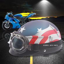 Unisex unique Motorcycle Scooter Helmets One in Four Open Face Half Black white Stars flag Helmet with goggle mask accessories