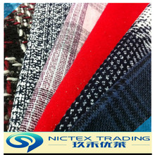 woven polyester blended wool tweed fabric for coats