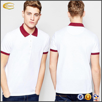 Ecoach 2016 Wholesale Custom Logo Contrast Polo Collar Short Sleeve 100% Cotton School Polo Shirt