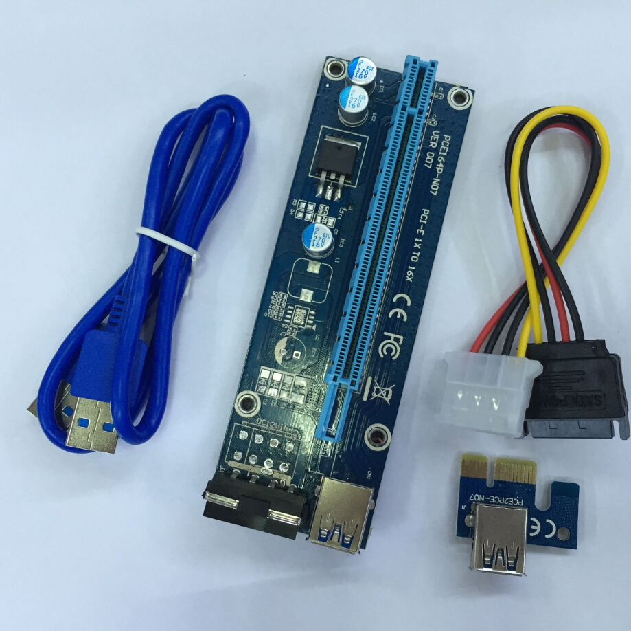 High Quality Usb Riser Card 1x To 16x PCIE Riser With SATA To 4pin Molex And 60CM USB3.0 Cable