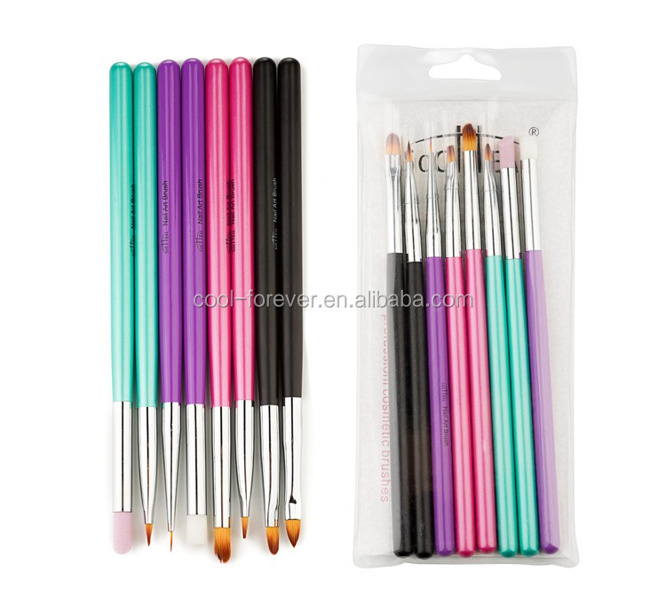 2016 new design 8pcs metal colorful nail art brush set