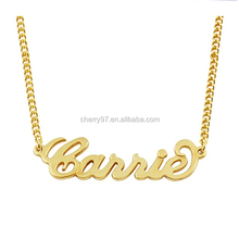 24k Gold Stainless Steel Chian Factory Wholesale Custom Made Personalized Any Name Initial Necklace