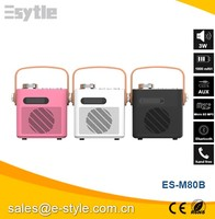 2015 China newest colorful fm radio speaker with usb port with handle