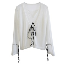 White Laces Women Design Knitted Skirts And Blouse Long Straps Dress Chiffon New Style