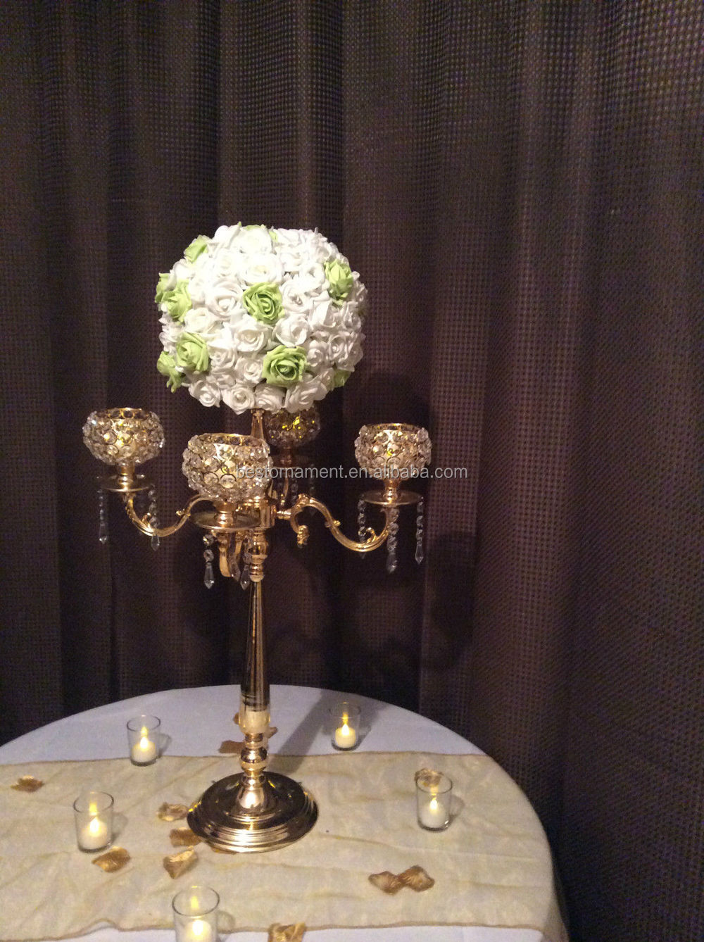 Wedding gold arm candelabra centerpieces view tall