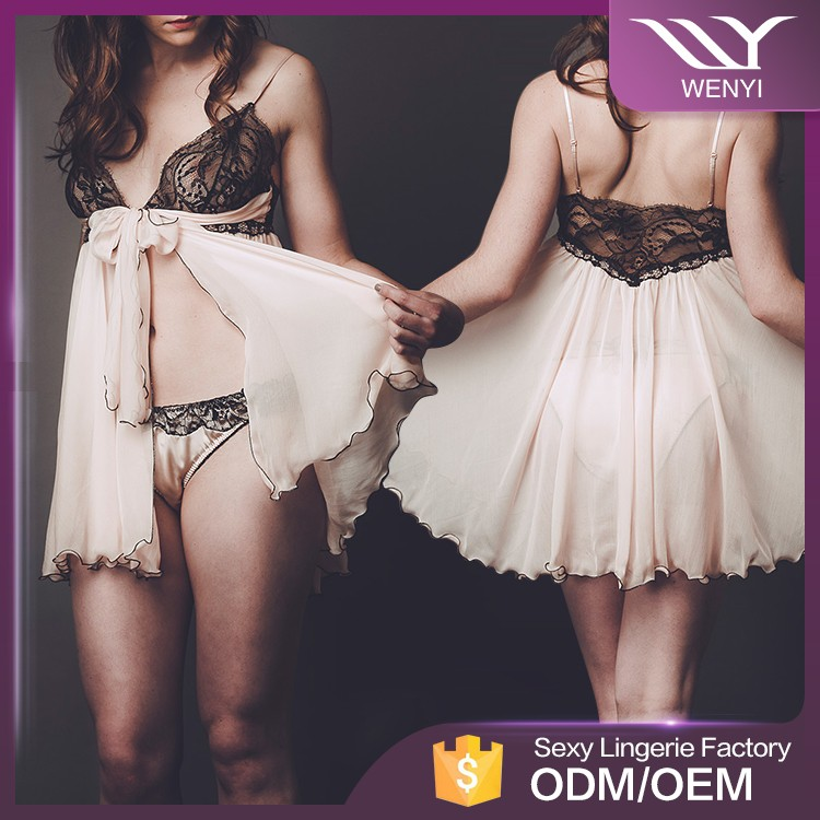 Guangzhou manufacturers hot sale fancy designs transparent sexy night dress for girls