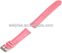 18mm Genuine Pink Leather Western Watch Band with Silver Buckle