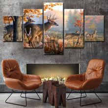 High quality animal photos running deer printing 3d wall art canvas painting