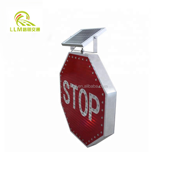 Factory discount price aluminum 600mm solar traffic stop sign