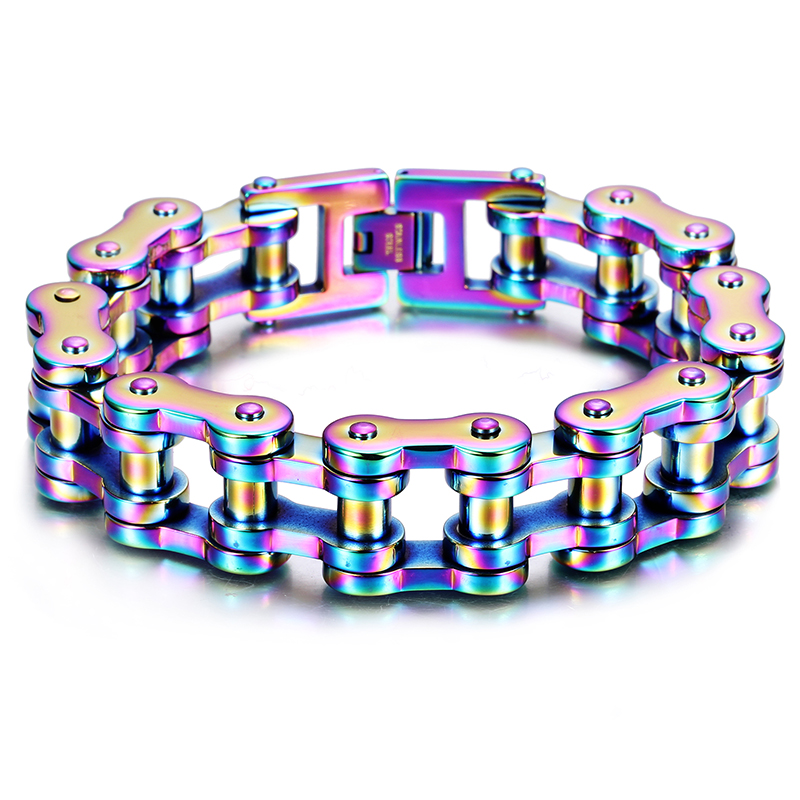 316l Stainless Steel Motorcycle Jewelry Cool and Heavy Colorful Bike Chain Bracelet for Men