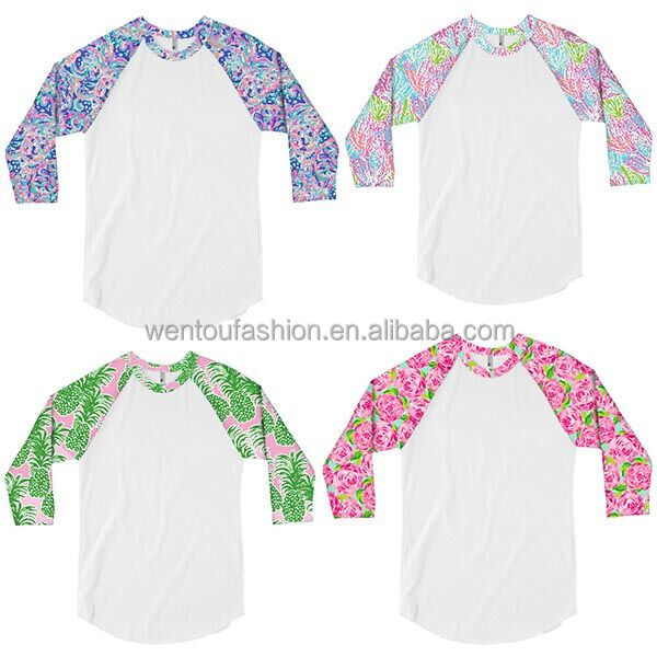 Wholesale 3/4 sleeve Lilly Inspired Raglan Jersey Shirt