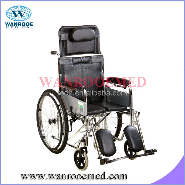 High back manual wheelchair with half lying and safety belt ( BWHM - 1A8)