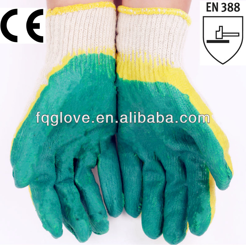 FQGLOVE cheapest cotton knit double latex coated gloves
